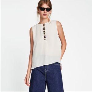 Zara Basics Beaded/Sequin Blouse